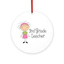 3rd Grade Stick Figure Teacher Ornament (Round)