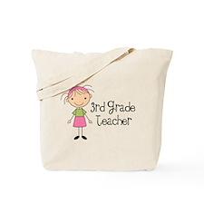 3rd Grade Stick Figure Teacher Tote Bag