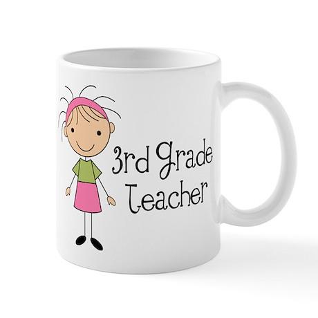 3rd Grade Stick Figure Teacher Mug