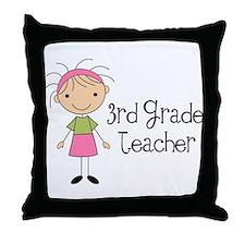 3rd Grade Stick Figure Teacher Throw Pillow