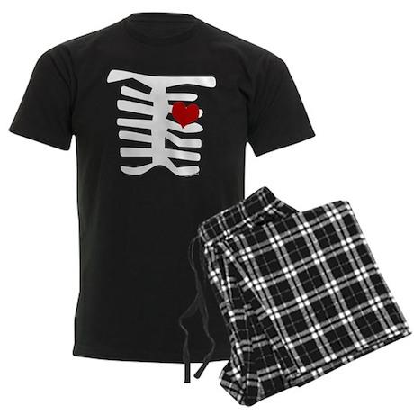 Skeleton with Heart Men's Dark Pajamas