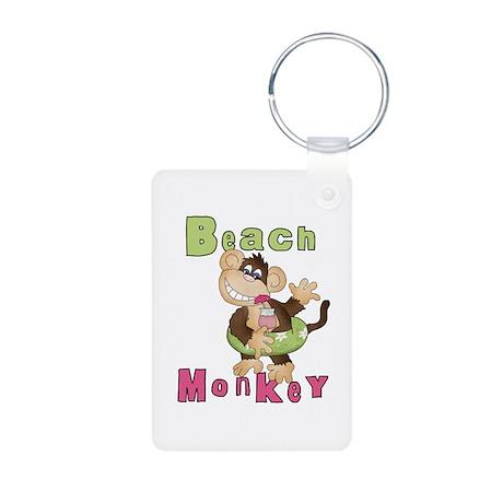 Green Beach Monkey Aluminum Photo Keychain