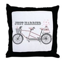 Tandem Bicyle Wedding Throw Pillow