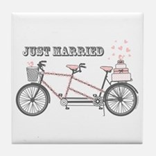 Tandem Bicyle Wedding Tile Coaster