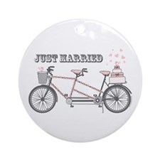 Tandem Bicyle Wedding Ornament (Round)