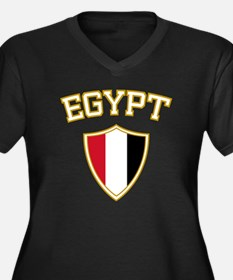 Egypt Crest English Women's Plus Size V-Neck Dark