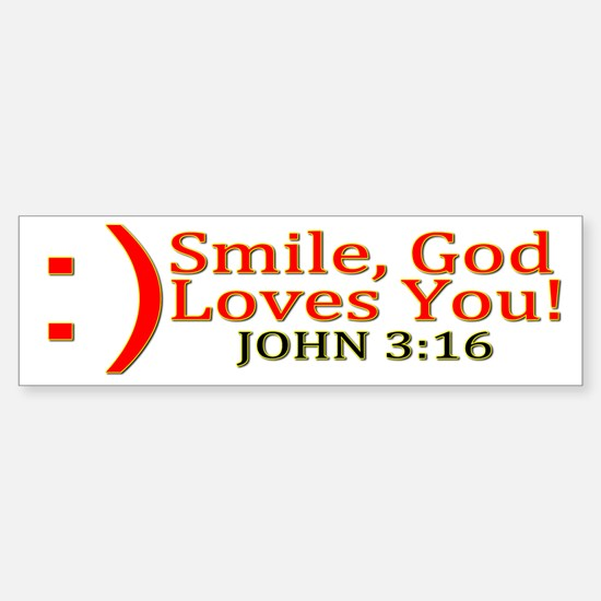 Smile, God Loves You! Sticker (Bumper)