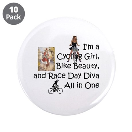 "Cycling Race Diva 3.5"" Button (10 pack)"