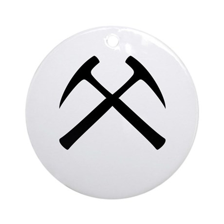 Crossed Rock Hammers Ornament (Round)