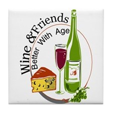 wine friends cheese aged Tile Coaster