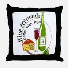 wine friends cheese aged Throw Pillow