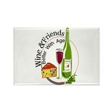 wine friends cheese aged Rectangle Magnet