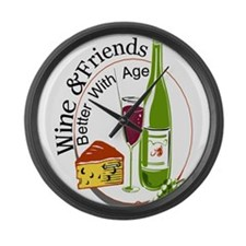 wine friends cheese aged Large Wall Clock