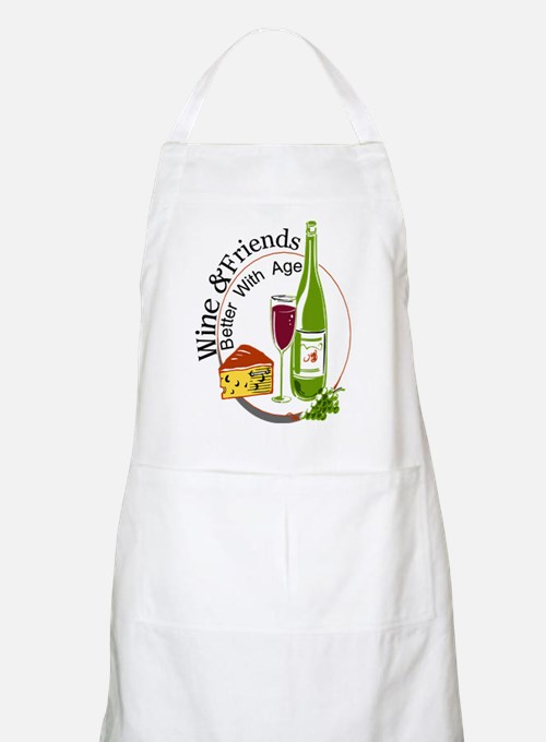 wine friends cheese aged Apron