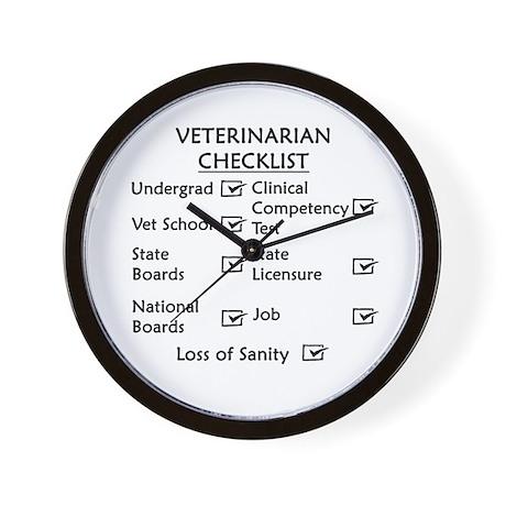 Veterinarian Checklist Wall Clock