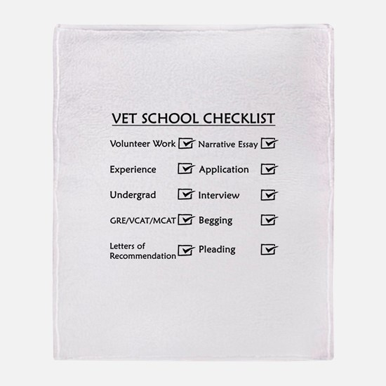 Vet School Checklist Throw Blanket