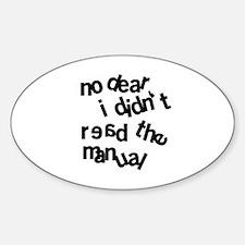 Men Don't Read Sticker (Oval)