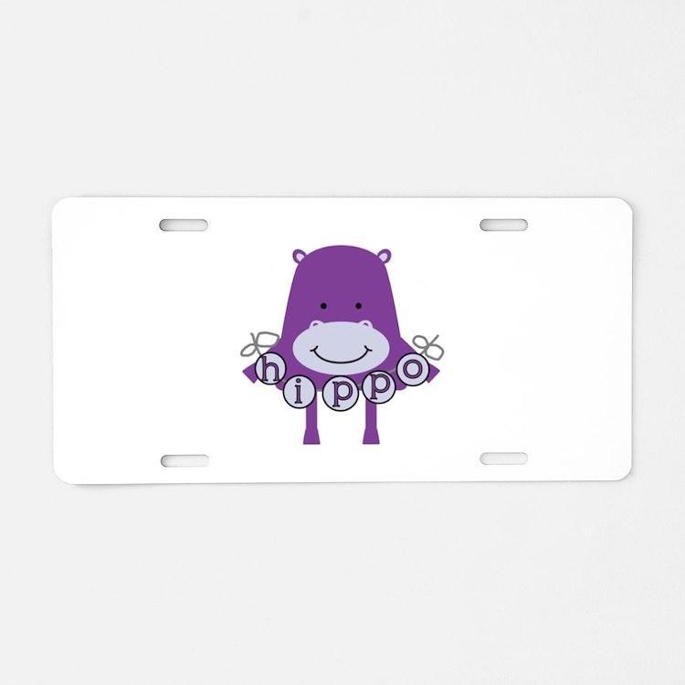 Cartoon Hippo Aluminum License Plate