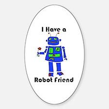 Robot Friend Sticker (Oval)