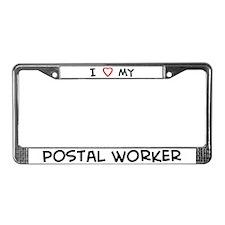I Love Postal Worker License Plate Frame