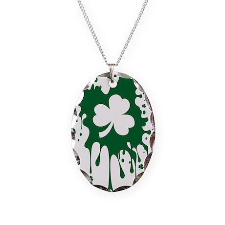Irish Shamrock Splat Necklace Oval Charm