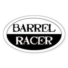 Barrel Racer -black/white- Oval Decal