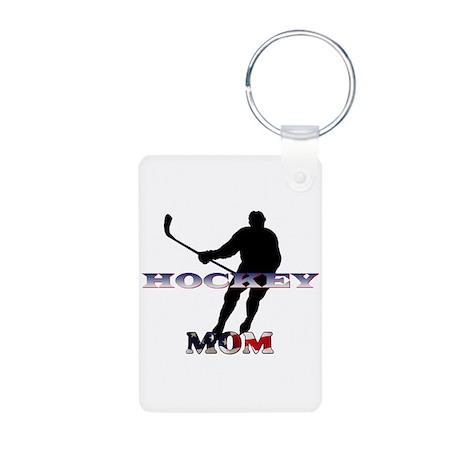 US Hockey Mom Aluminum Photo Keychain