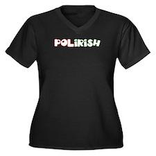 Polirish Women's Plus Size V-Neck Dark T-Shirt