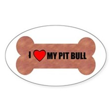 PIT BULL DOG BONE LOOK Oval Decal