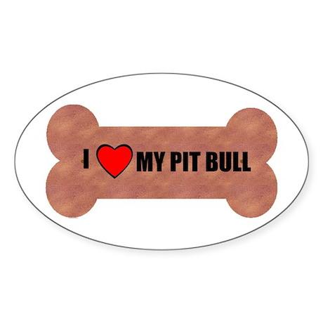 PIT BULL DOG BONE LOOK Oval Sticker