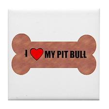PIT BULL DOG BONE LOOK Tile Coaster