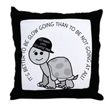 Slow Going Turtle Throw Pillow