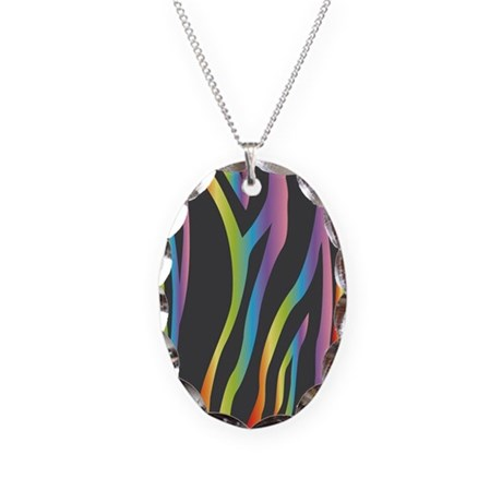 Rainbow Zebra Stripe Necklace Oval Charm