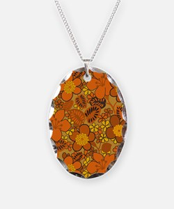 Hippie Floral Orange Necklace