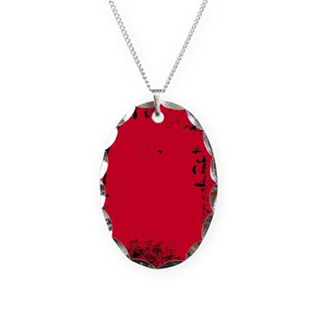 Grunge Red Necklace Oval Charm