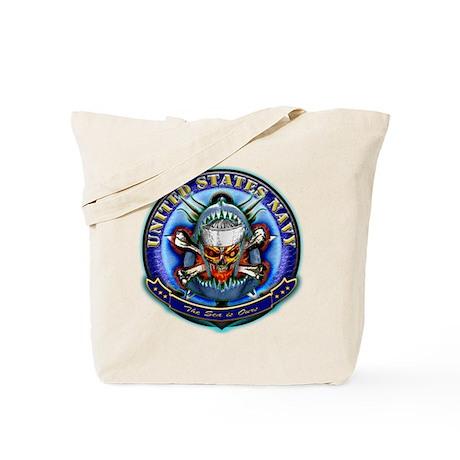USN Navy Skull Tote Bag