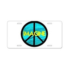 IMAGINE with PEACE SYMBOL Aluminum License Plate
