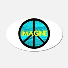 IMAGINE with PEACE SYMBOL 22x14 Oval Wall Peel