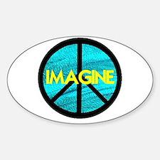 IMAGINE with PEACE SYMBOL Sticker (Oval)
