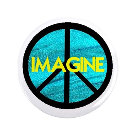 "IMAGINE with PEACE SYMBOL 3.5"" Button"