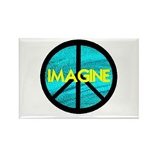 IMAGINE with PEACE SYMBOL Rectangle Magnet