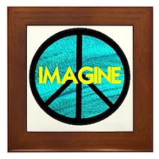 IMAGINE with PEACE SYMBOL Framed Tile