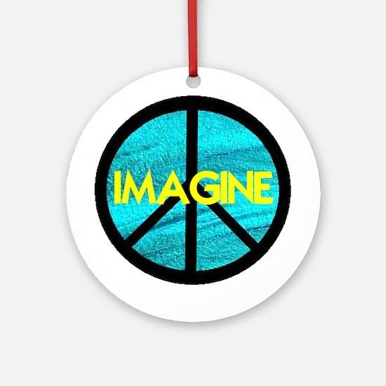 IMAGINE with PEACE SYMBOL Ornament (Round)