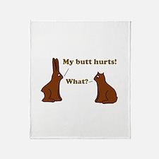 Chocolate Bunnies My Butt Hur Throw Blanket