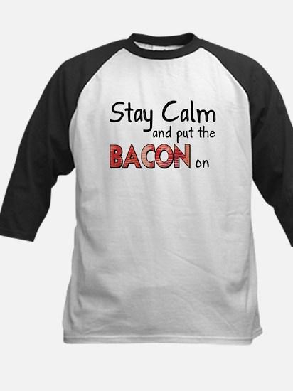 Keep Calm and Put the Bacon O Kids Baseball Jersey