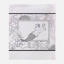 Mercat with seahorse and jell Throw Blanket
