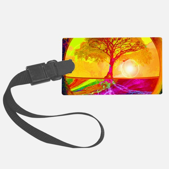Gold Sunlight Tree of Life Luggage Tag