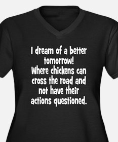 Chickens Cross the Road Women's Plus Size V-Neck D