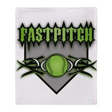 Fastpitch Home Plate Green Throw Blanket