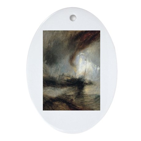 Snow Storm Steam Boat Ornament (Oval)